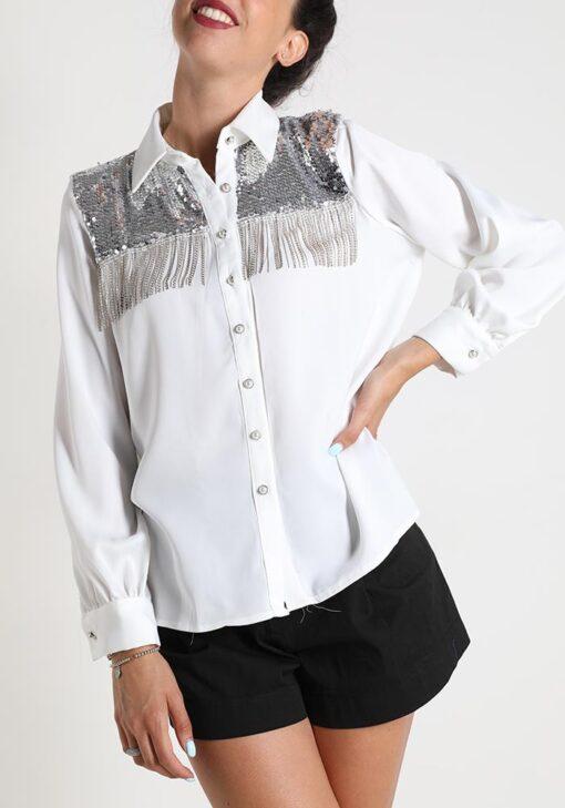 chemise avec des paillettes à franges