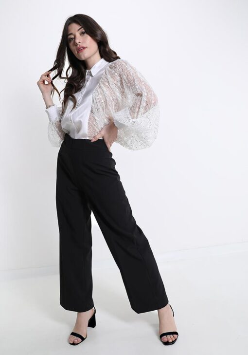chemise blanche tendance avec des paillettes