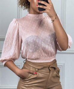 blouse-transparente-rose-a-pois-avec-dos-ouvert-col-ras-de-cou-et-manches-longues (1)