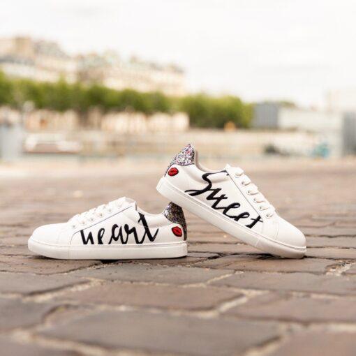 sneaker à lacets avec paillettes simone -strass et-paillettes