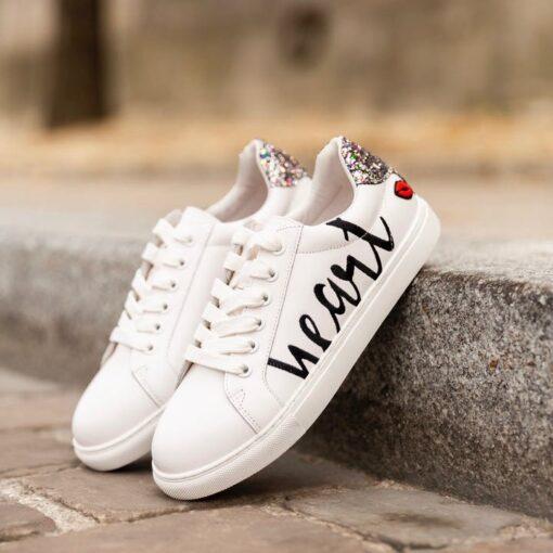 sneaker à lacets avec paillettes simone strass et paillettes