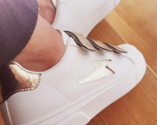 baskets femme tendances dorés à scratchs