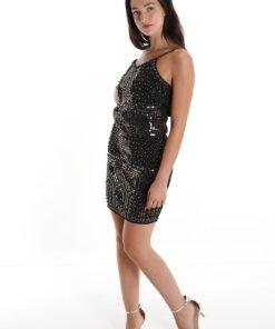 robe brillante noire avec paillettes et clous
