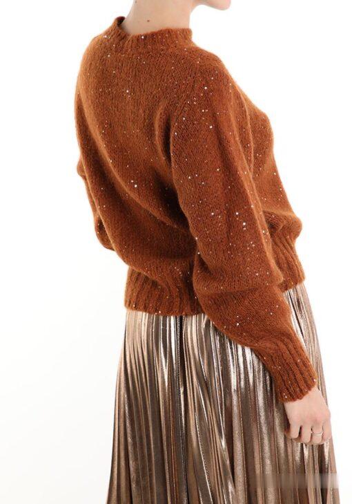 chandail marron en mohair avec des paillettes