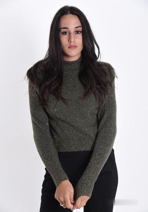 chandail en laine avec des paillettes à col roulé