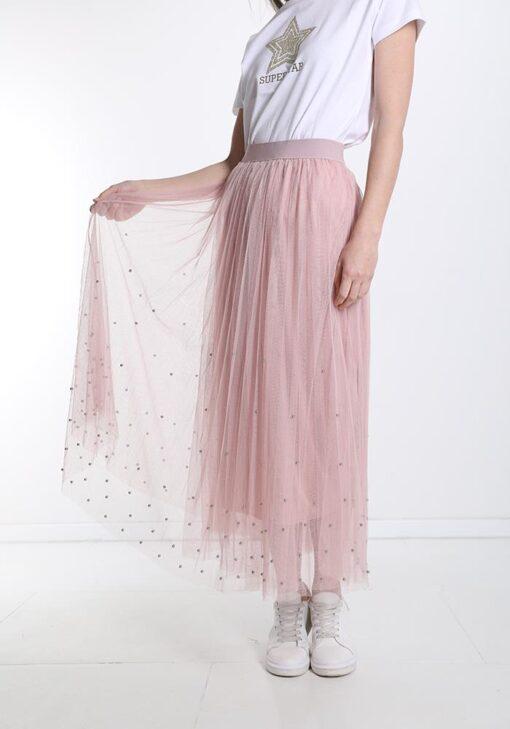 jupe longue rose en tulle avec strass
