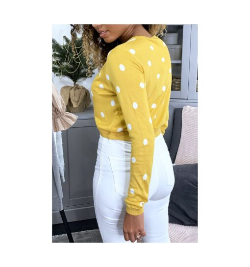 pull jaune col rond et boutons au dos