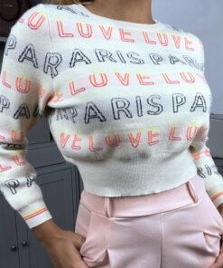 pull-court-beige-a-inscription-paris-love