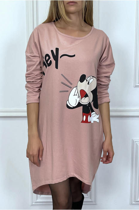 robe-tunique-rose-avec-poches-et-dessin-a-l-avant