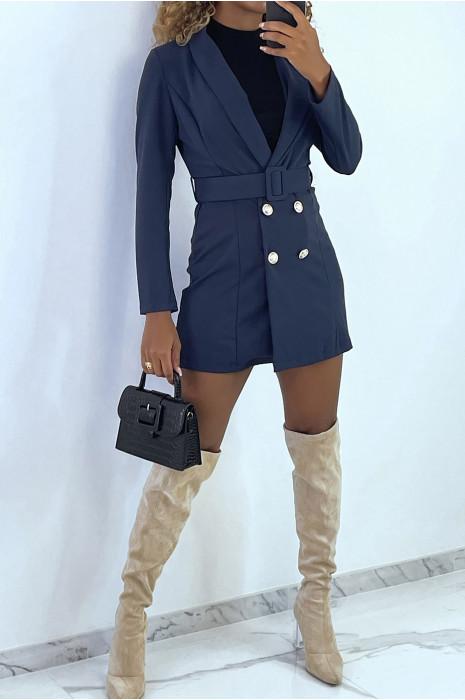 veste-blazer-34-en-marine-avec-boutons-et-ceinture