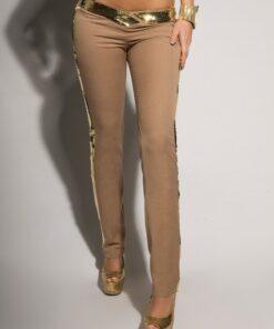Pantalon Femme Avec Paillettes Dorées