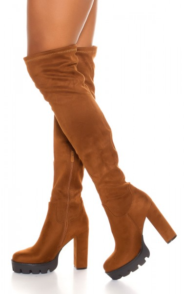 bottes femme marron effet daim
