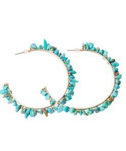 boucles d'oreilles créole pierres turquoises