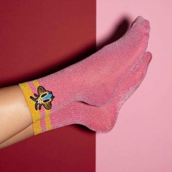 chaussettes femme paillettes abeille