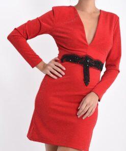 robe encolure en v strass et paillettes avec ceinture