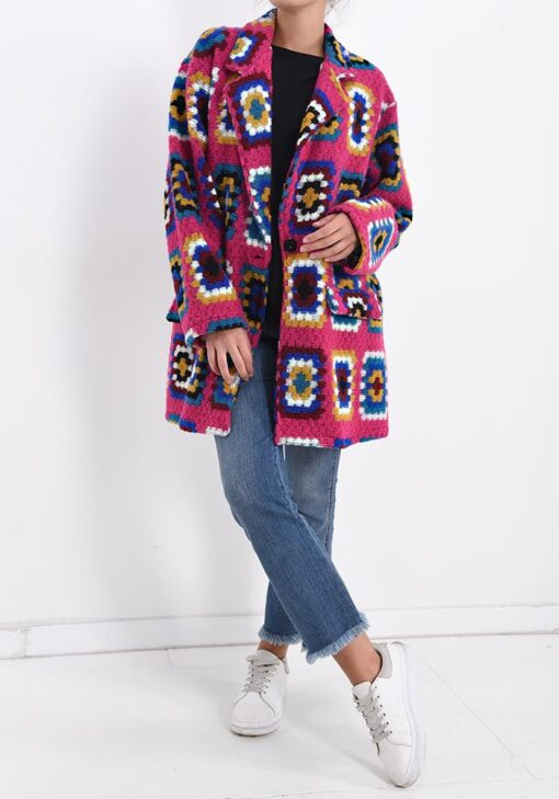 manteau en laine avec motif géométrique