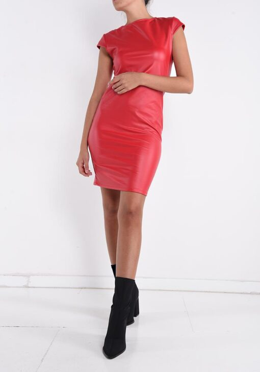 robe rouge simili cuir