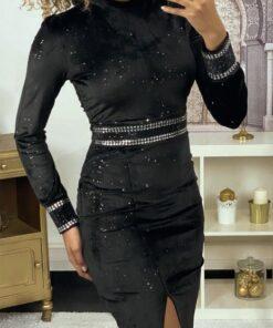 robe-de-soiree-en-velours-paillete-noir-avec-strass-a-la-taille-et-aux-manches